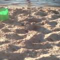 Piasek plaża i wykopaliska