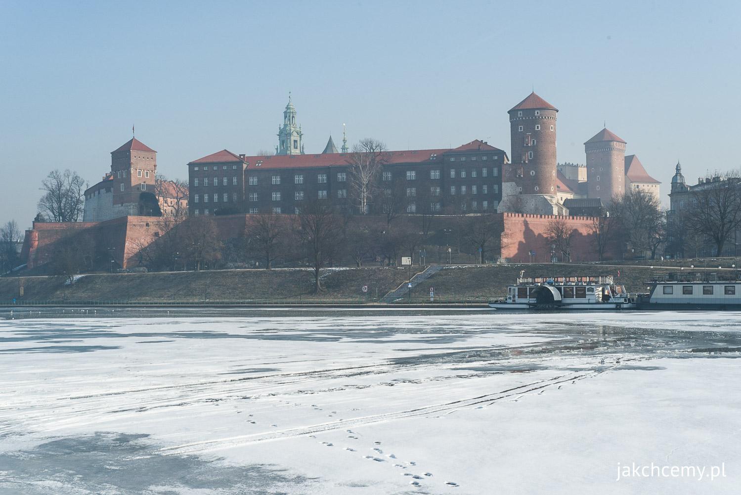 Wawel, Kraków, Wisła, zima